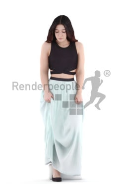 3d people event, young woman walking downstairs