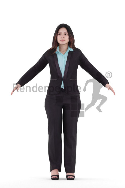 Rigged and retopologized 3D People model – european woman in business suits