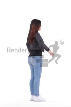 Rigged human 3D model by Renderpeople – white woman in casual look