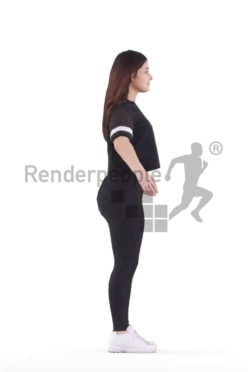 Rigged 3D People model for Maya and 3ds Max – white woman in sports wear