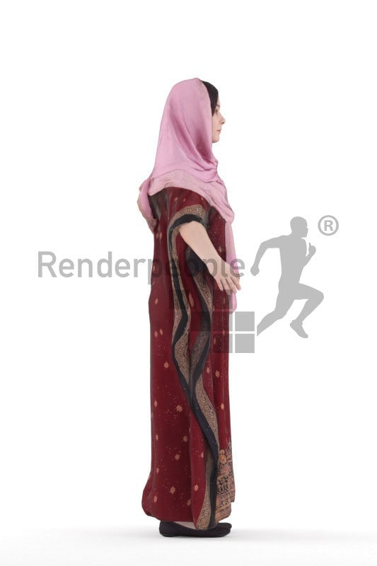 Rigged and retopologized 3D People model – woman in traditional dress, wearing a hijab