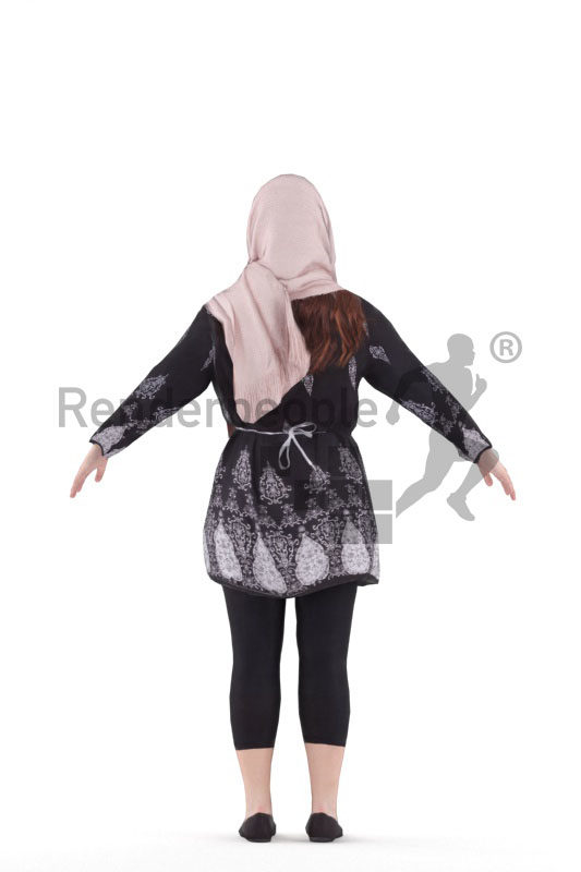 3d people casual, 3d white woman with hijab rigged