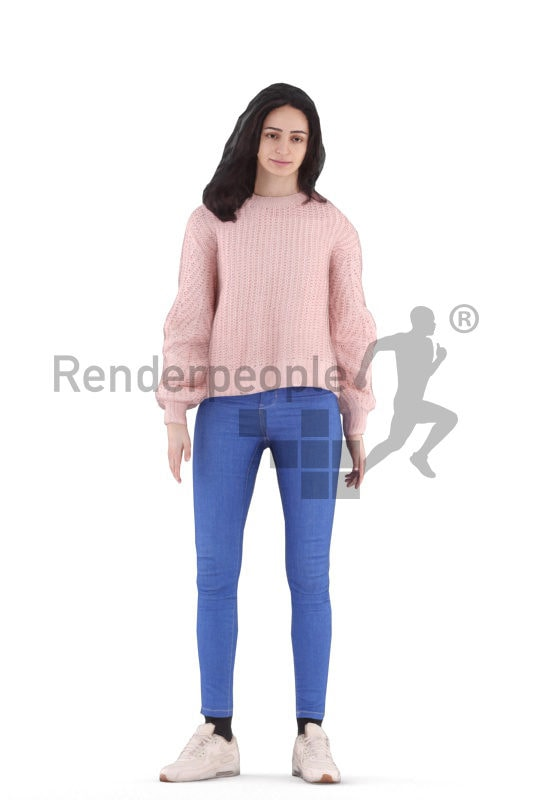 Animated 3D People model for 3ds Max and Maya – standing european woman, casual