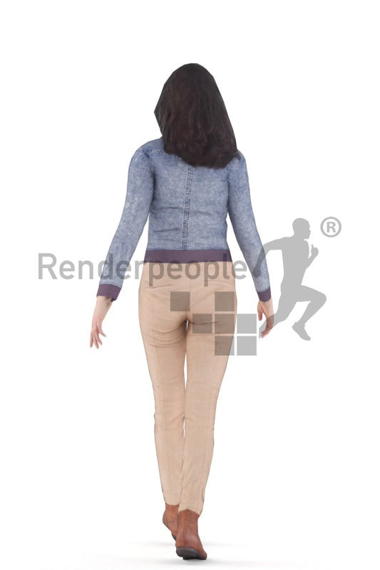 Animated 3D People model for Unreal Engine and Unity – white woman, casual, walking
