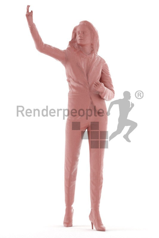 Animated human 3D model by Renderpeople – hispanic woman in business suit, standing and presenting