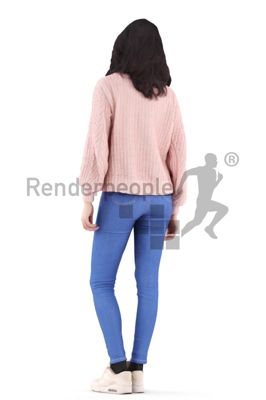 3d people casual, woman standing