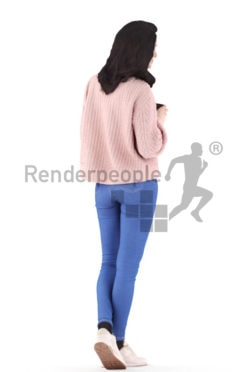 3d people casual, woman standing and holding a cup