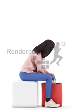 3d people retail, woman standing and holding shopping bag