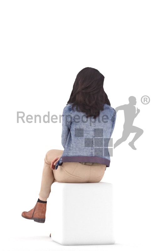 3d people casual, woman standing and waiting