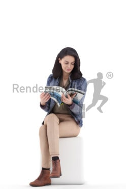3d people casual, woman sitting and reading
