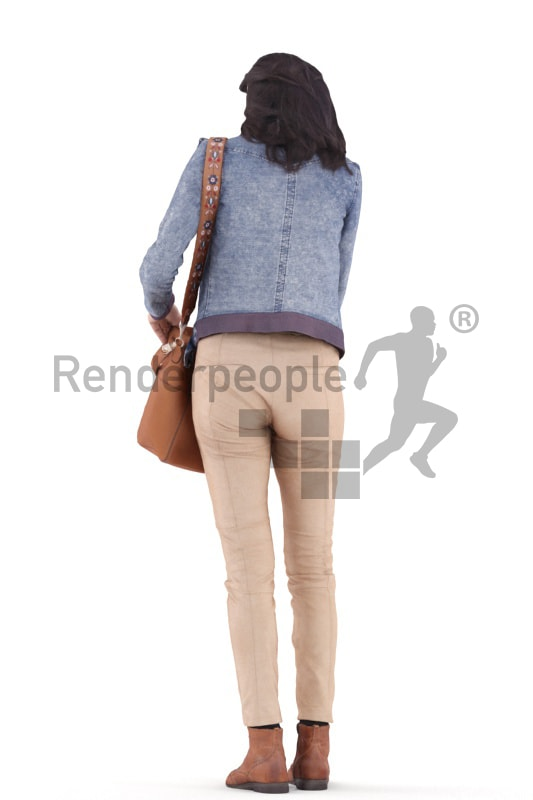 3d people casual, woman standing and searching inside her bag
