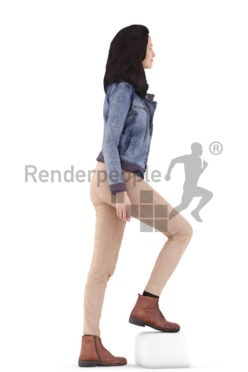 3d people casual, woman standing and walking upstairs