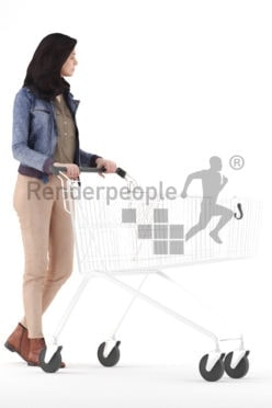 3d people casual, woman walking with a shopping cart