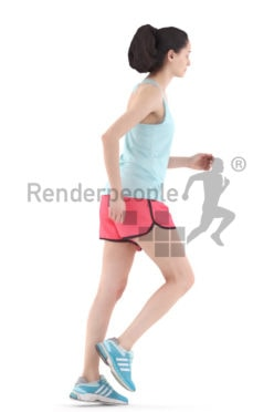 3d people sports, woman running and jogging