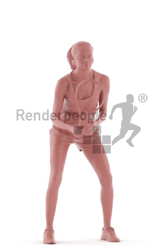 3d people sports, woman holding tennis racket