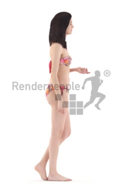 3d people beach, woman walking wearing bikini