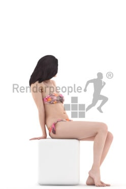 3d people beach, woman sitting wearing bikini