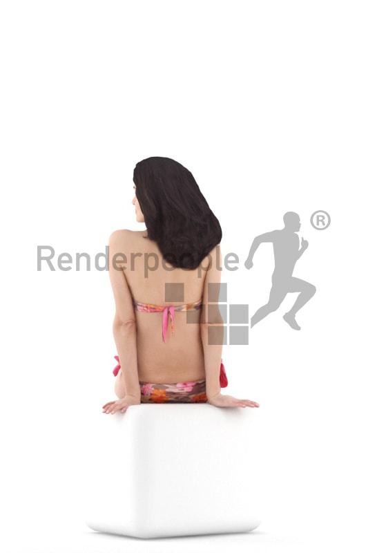 3d people beach, woman sitting wearing bikini