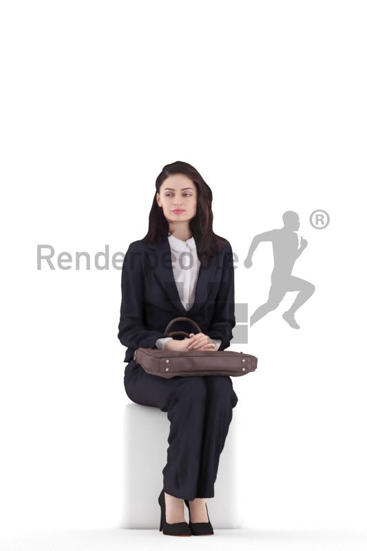 3d people casual, white 3d woman sitting and holding briefcase