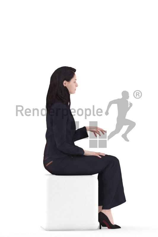 3d people casual, white 3d woman sitting working on pc