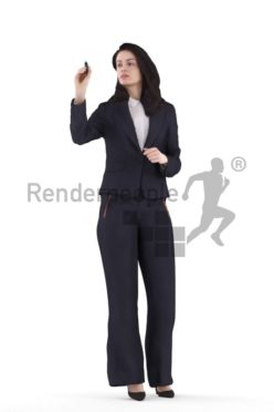 3d people business, white 3d man walking and holding jacket