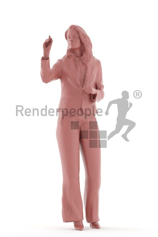 3d people business, south american 3d woman standing and writing on a whiteboard