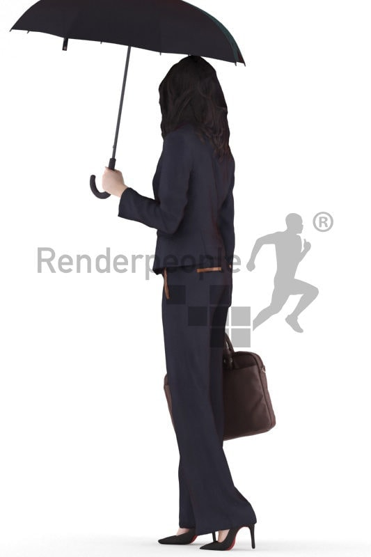3d people business, white 3d woman standing and holding an umbrella