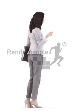 3d people business, white 3d woman standing and pointing