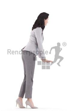 3d people business, white 3d woman standing and leaning on table