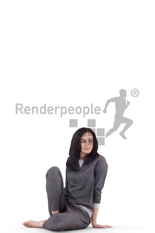3d people sleepwear, white 3d woman sitting