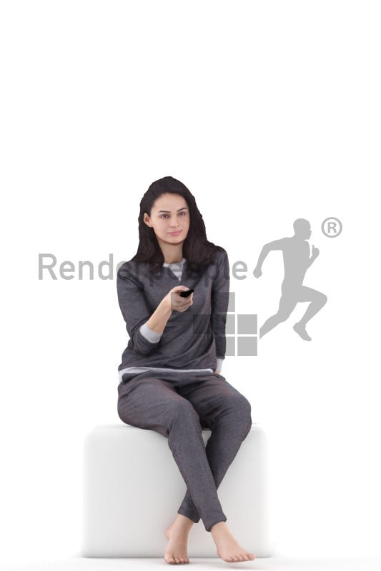 3d people sleepwear, white 3d woman sitting and watching tv