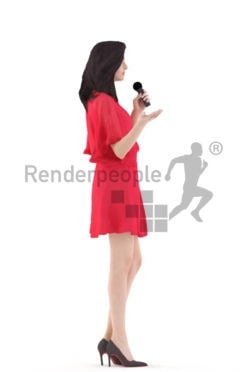 3d people event, white 3d woman singing