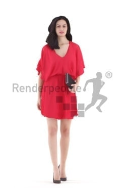 3d people event, south american 3d woman walking