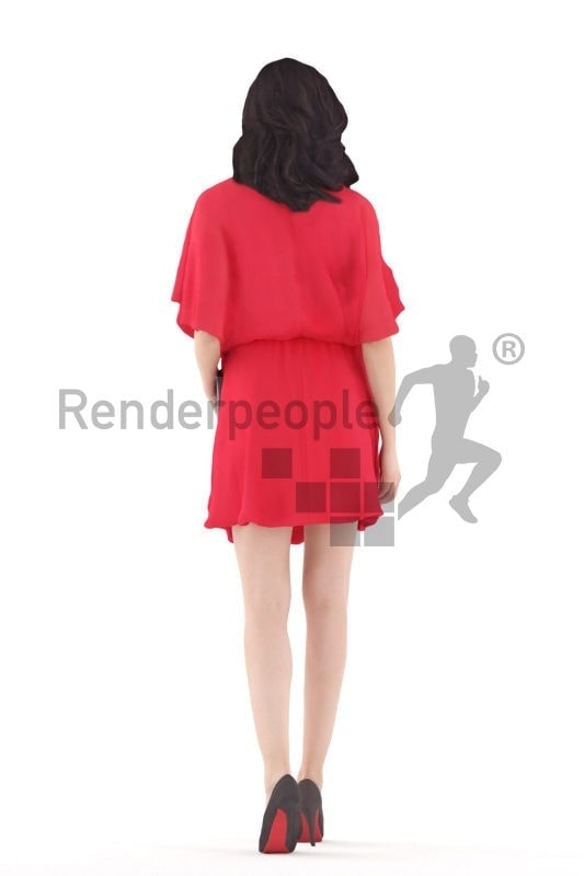3d people event, south american 3d woman walking and holding a clutch