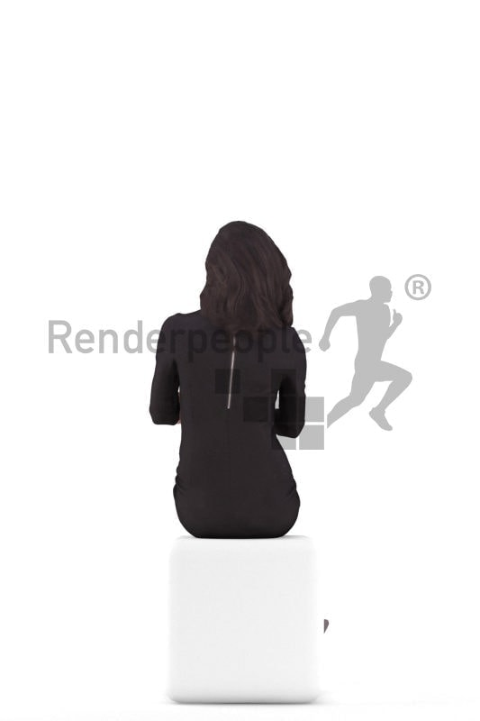 3d people event, south american 3d woman sitting
