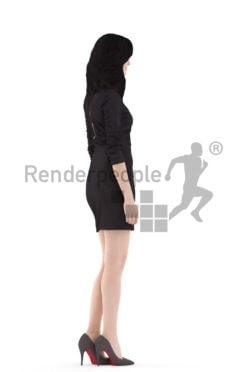 3d people event, white 3d woman standing