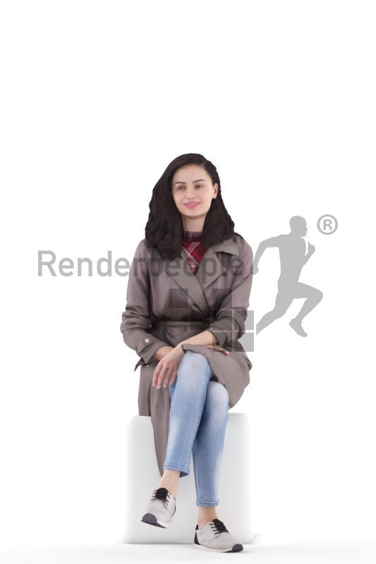 3d people casual, south american 3d woman sitting and smiling