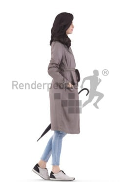 3d people casual, south american 3d woman standing and holding an umbrella