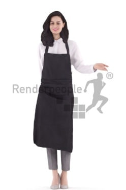 3d people waiter, south american 3d woman
