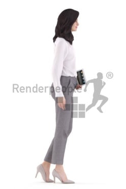 3d people business, white 3d woman walking and holding a tablet