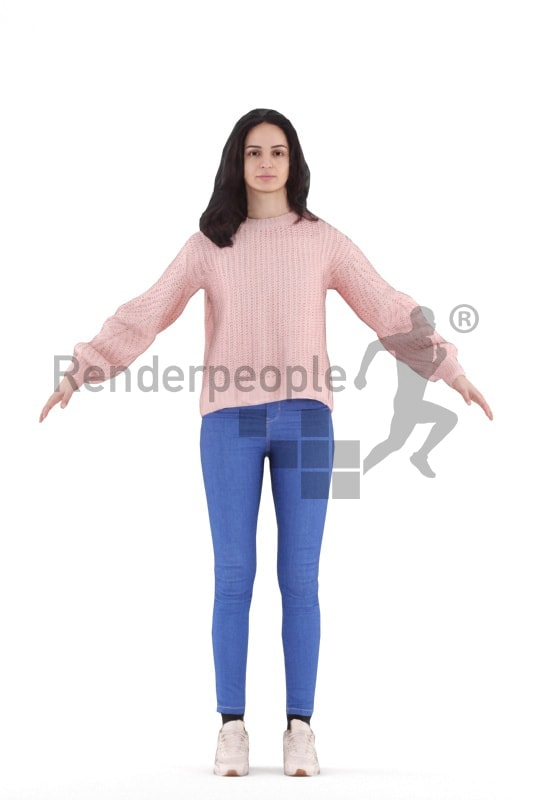 Rigged human 3D model by Renderpeople, white woman, casual