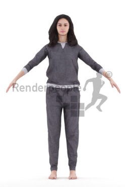 Rigged and retopologized 3D People model – european woman in sleepwear