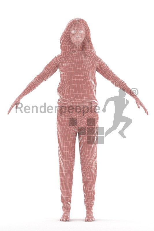 Rigged and retopologized 3D People model – european woman in sleepwear
