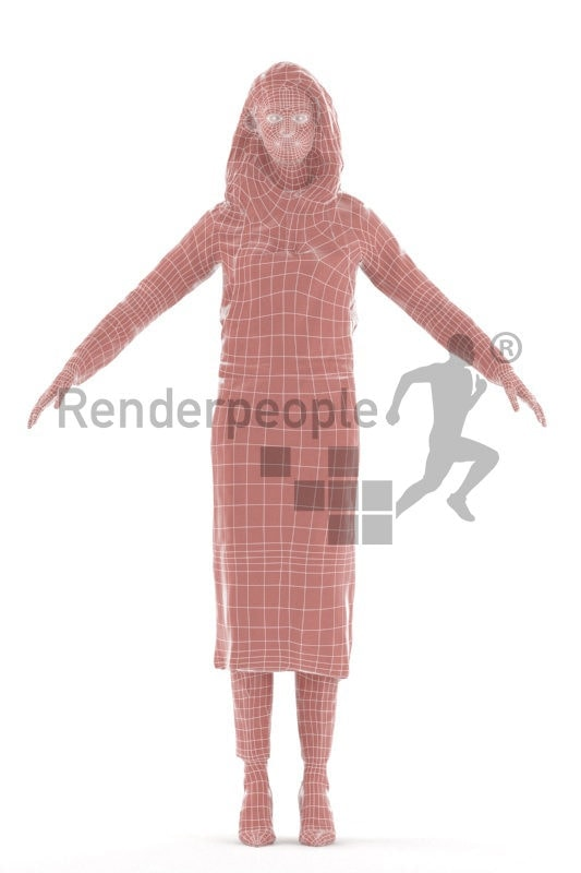 Rigged 3D People model for Maya and 3ds Max – woman with apron, gastronomy