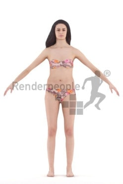 3d people swimwear, rigged man in A Pose
