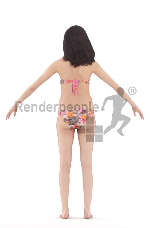 3d people swimwear, rigged woman in A Pose