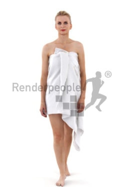 3d people spa, white 3d woman with a towl walking