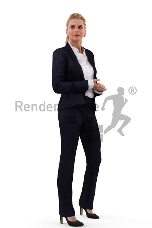 3d people business, white 3d woman wearing a suit