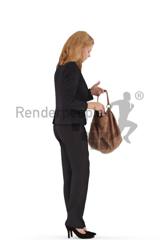 3d people business, white 3d woman standing and looking in her bag