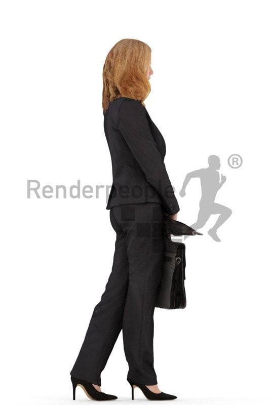 3d people business, white 3d woman standing and holding a umbrella and briefcase
